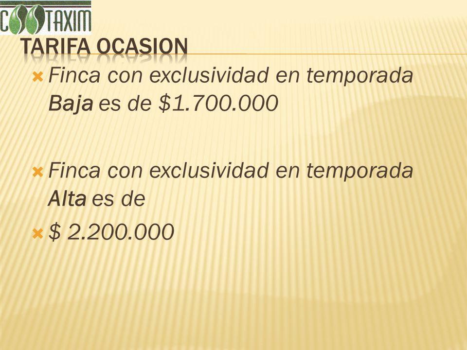 Finca con exclusividad en temporada Baja es de $1.700.000 Finca con exclusividad en temporada Alta es de $ 2.200.000