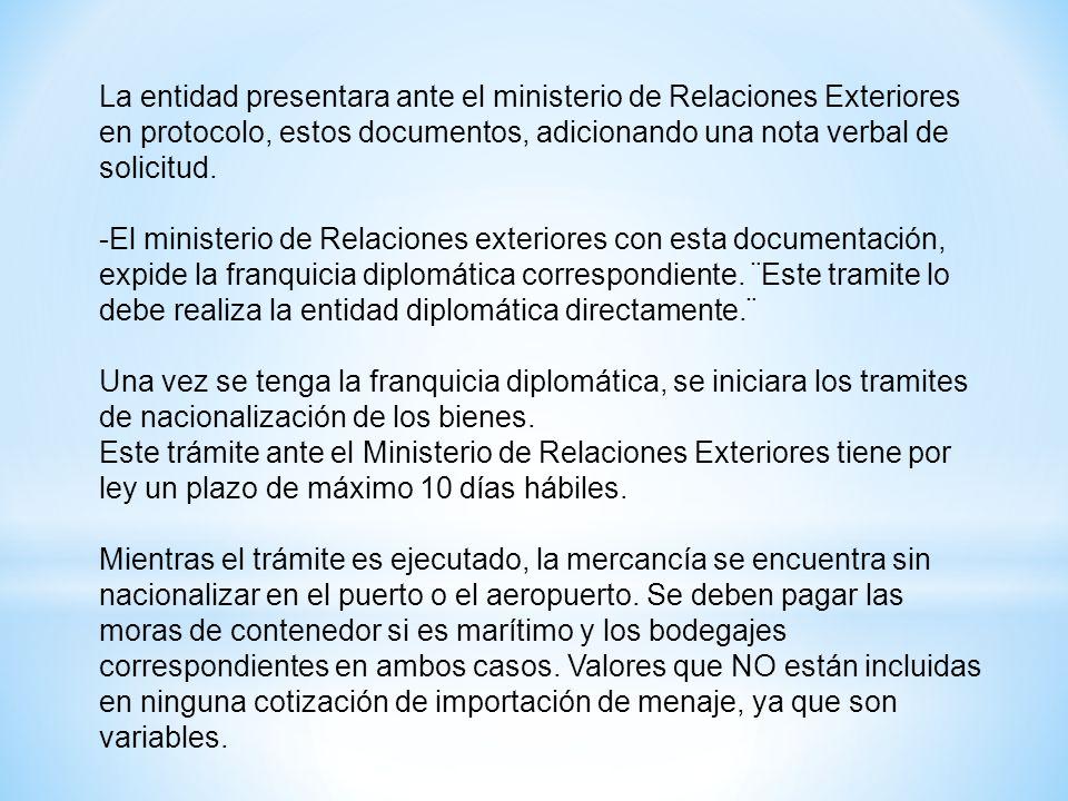 La entidad presentara ante el ministerio de Relaciones Exteriores en protocolo, estos documentos, adicionando una nota verbal de solicitud.