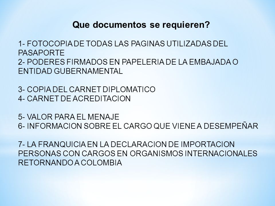 Que documentos se requieren.