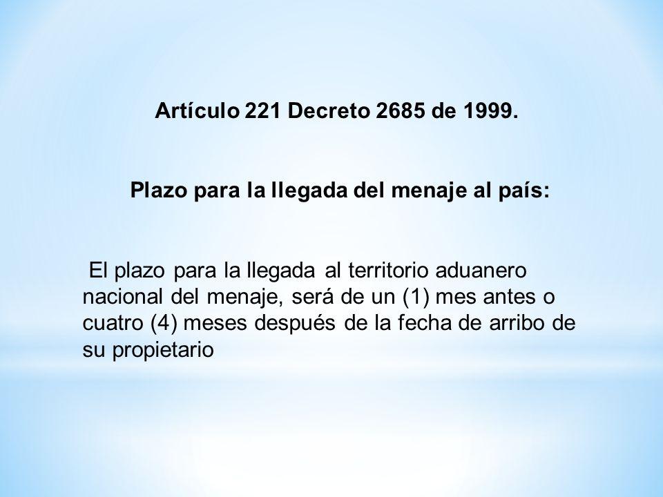 Artículo 221 Decreto 2685 de 1999. Plazo para la llegada del menaje al país: El plazo para la llegada al territorio aduanero nacional del menaje, será