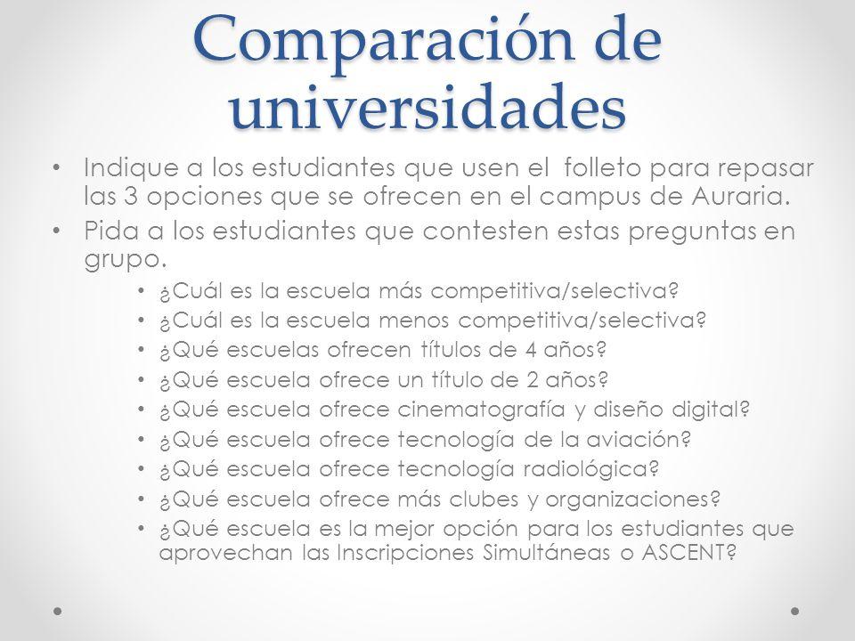 Comparación de universidades Indique a los estudiantes que usen el folleto para repasar las 3 opciones que se ofrecen en el campus de Auraria.