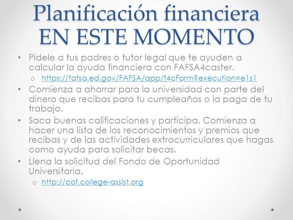 Planificación financiera EN ESTE MOMENTO Pídele a tus padres o tutor legal que te ayuden a calcular la ayuda financiera con FAFSA4caster.