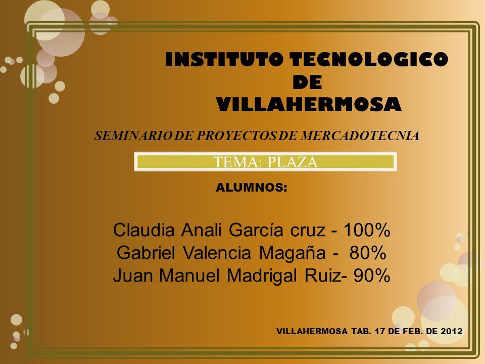 ALUMNOS: Claudia Anali García cruz - 100% Gabriel Valencia Magaña - 80% Juan Manuel Madrigal Ruiz- 90% INSTITUTO TECNOLOGICO DE VILLAHERMOSA VILLAHERMOSA TAB.