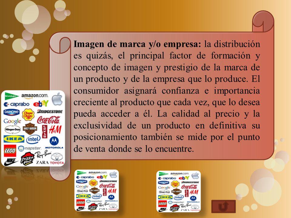 Imagen de marca y/o empresa: la distribución es quizás, el principal factor de formación y concepto de imagen y prestigio de la marca de un producto y de la empresa que lo produce.