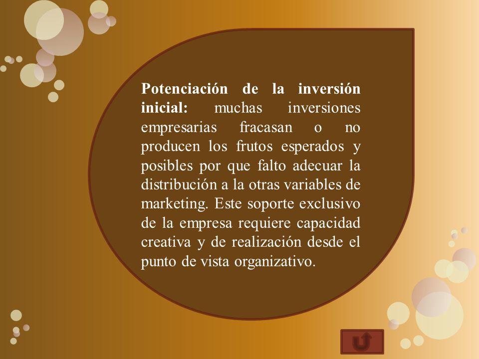Potenciación de la inversión inicial: muchas inversiones empresarias fracasan o no producen los frutos esperados y posibles por que falto adecuar la distribución a la otras variables de marketing.