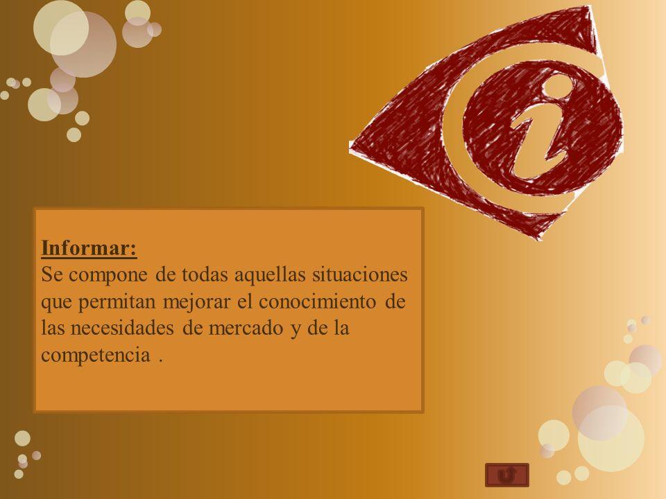 Informar: Se compone de todas aquellas situaciones que permitan mejorar el conocimiento de las necesidades de mercado y de la competencia.