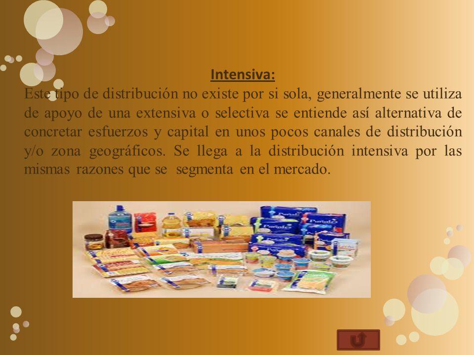 Intensiva: Este tipo de distribución no existe por si sola, generalmente se utiliza de apoyo de una extensiva o selectiva se entiende así alternativa