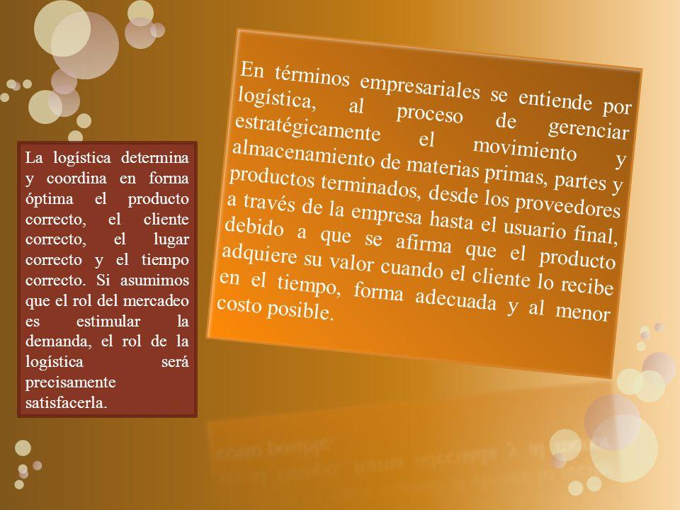 La logística determina y coordina en forma óptima el producto correcto, el cliente correcto, el lugar correcto y el tiempo correcto.
