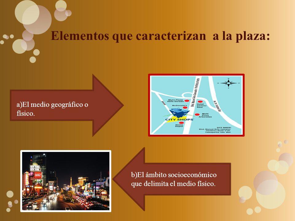 Elementos que caracterizan a la plaza: a)El medio geográfico o físico. b)El ámbito socioeconómico que delimita el medio físico.