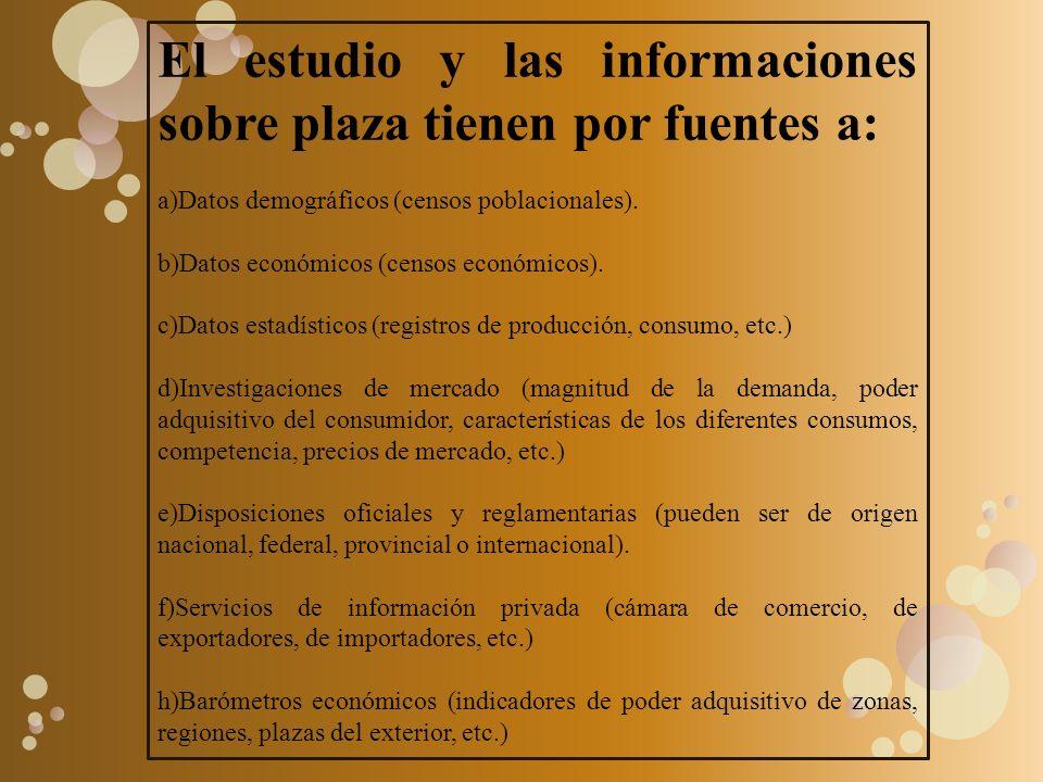 El estudio y las informaciones sobre plaza tienen por fuentes a: a)Datos demográficos (censos poblacionales). b)Datos económicos (censos económicos).