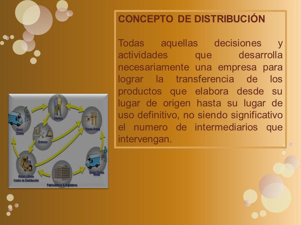 CONCEPTO DE DISTRIBUCIÓN Todas aquellas decisiones y actividades que desarrolla necesariamente una empresa para lograr la transferencia de los product