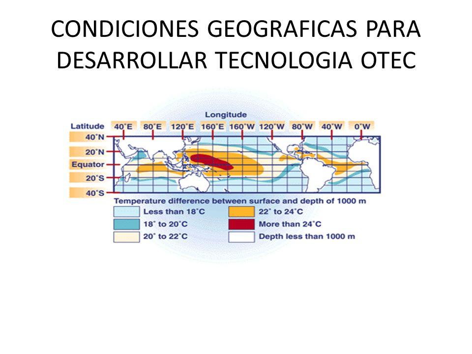 CONDICIONES GEOGRAFICAS PARA DESARROLLAR TECNOLOGIA OTEC