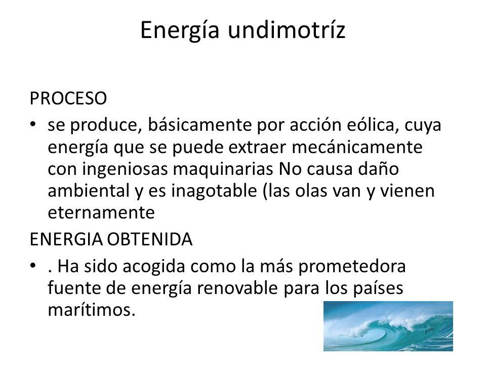 Energía undimotríz PROCESO se produce, básicamente por acción eólica, cuya energía que se puede extraer mecánicamente con ingeniosas maquinarias No causa daño ambiental y es inagotable (las olas van y vienen eternamente ENERGIA OBTENIDA.