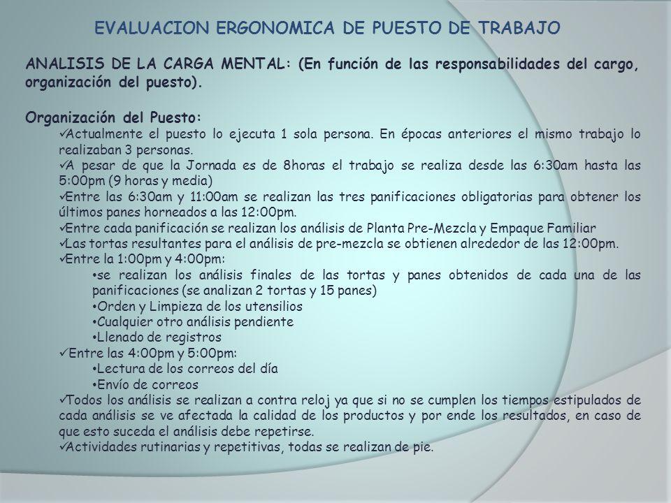EVALUACION ERGONOMICA DE PUESTO DE TRABAJO ANALISIS DE LA CARGA MENTAL: (En función de las responsabilidades del cargo, organización del puesto). Orga