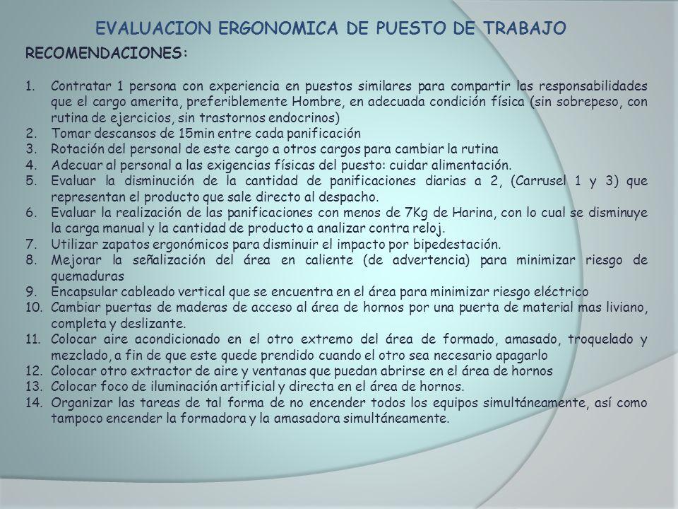 EVALUACION ERGONOMICA DE PUESTO DE TRABAJO RECOMENDACIONES: 1.Contratar 1 persona con experiencia en puestos similares para compartir las responsabili