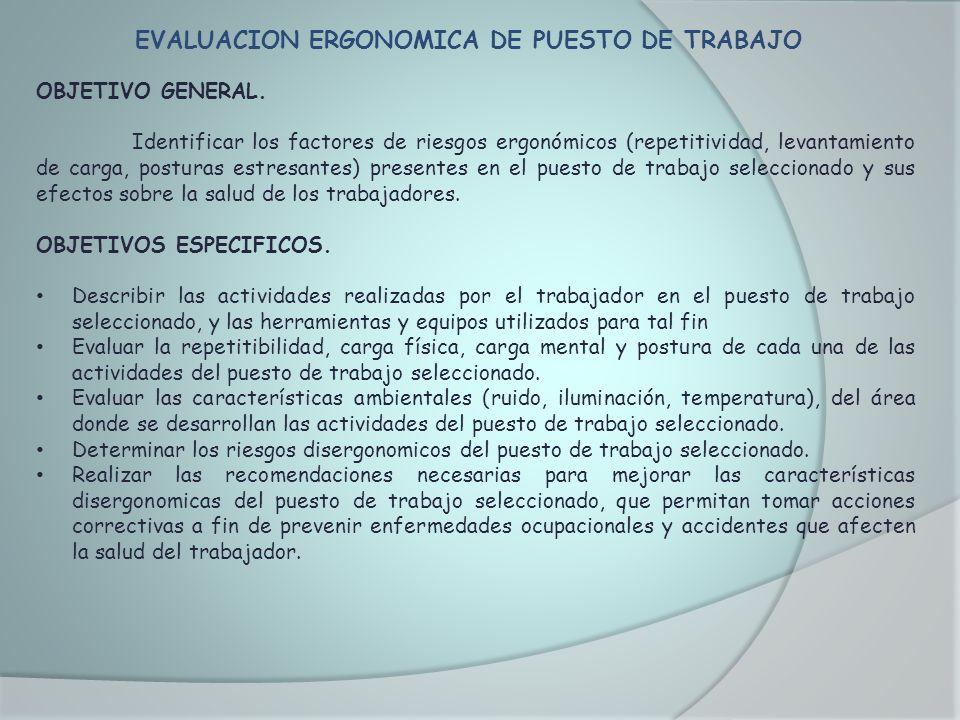 EVALUACION ERGONOMICA DE PUESTO DE TRABAJO OBJETIVO GENERAL. Identificar los factores de riesgos ergonómicos (repetitividad, levantamiento de carga, p