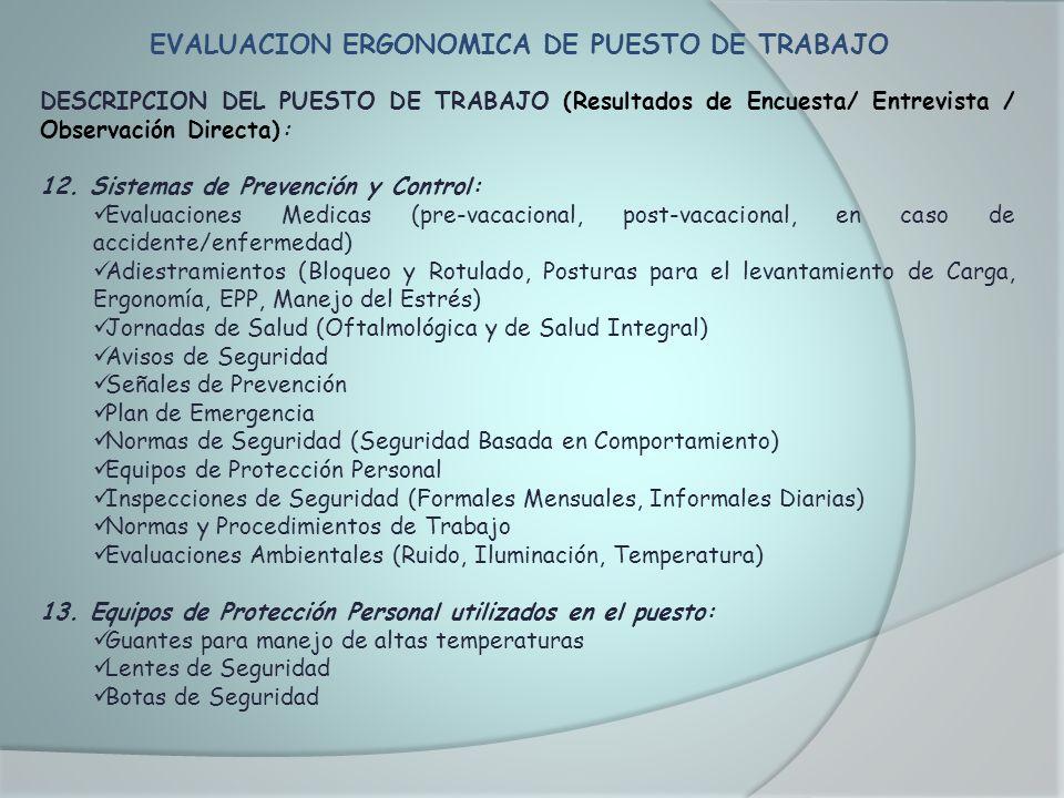 EVALUACION ERGONOMICA DE PUESTO DE TRABAJO DESCRIPCION DEL PUESTO DE TRABAJO (Resultados de Encuesta/ Entrevista / Observación Directa): 12. Sistemas
