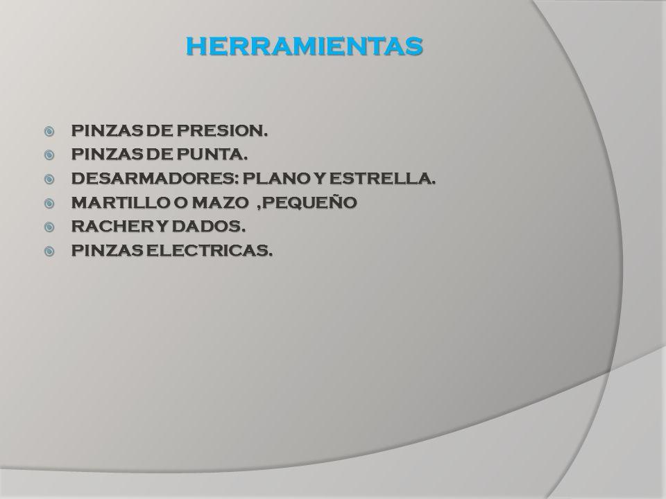 HERRAMIENTAS PINZAS DE PRESION. PINZAS DE PRESION. PINZAS DE PUNTA. PINZAS DE PUNTA. DESARMADORES: PLANO Y ESTRELLA. DESARMADORES: PLANO Y ESTRELLA. M