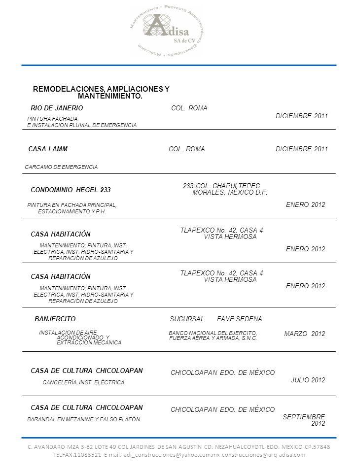 C. AVANDARO MZA 3-B2 LOTE 49 COL JARDINES DE SAN AGUSTIN CD. NEZAHUALCOYOTL EDO. MEXICO CP.57848 TELFAX.11083521 E-mail: adi_construcciones@yahoo.com.