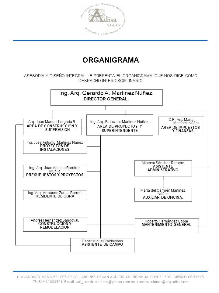 ORGANIGRAMA ASESORIA Y DISEÑO INTEGRAL LE PRESENTA EL ORGANIGRAMA QUE NOS RIGE COMO DESPACHO INTERDISCIPLINARIO Ing. Arq. Gerardo A. Martínez Núñez. D