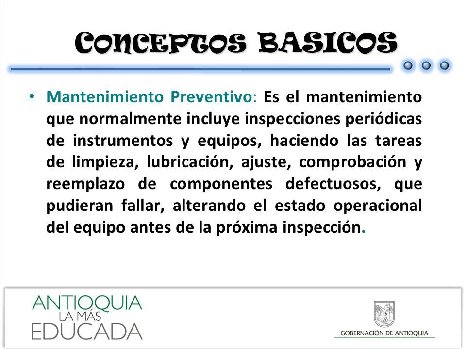 C ONCEPTOS BASICOS C ONCEPTOS BASICOS Mantenimiento Preventivo: Es el mantenimiento que normalmente incluye inspecciones periódicas de instrumentos y