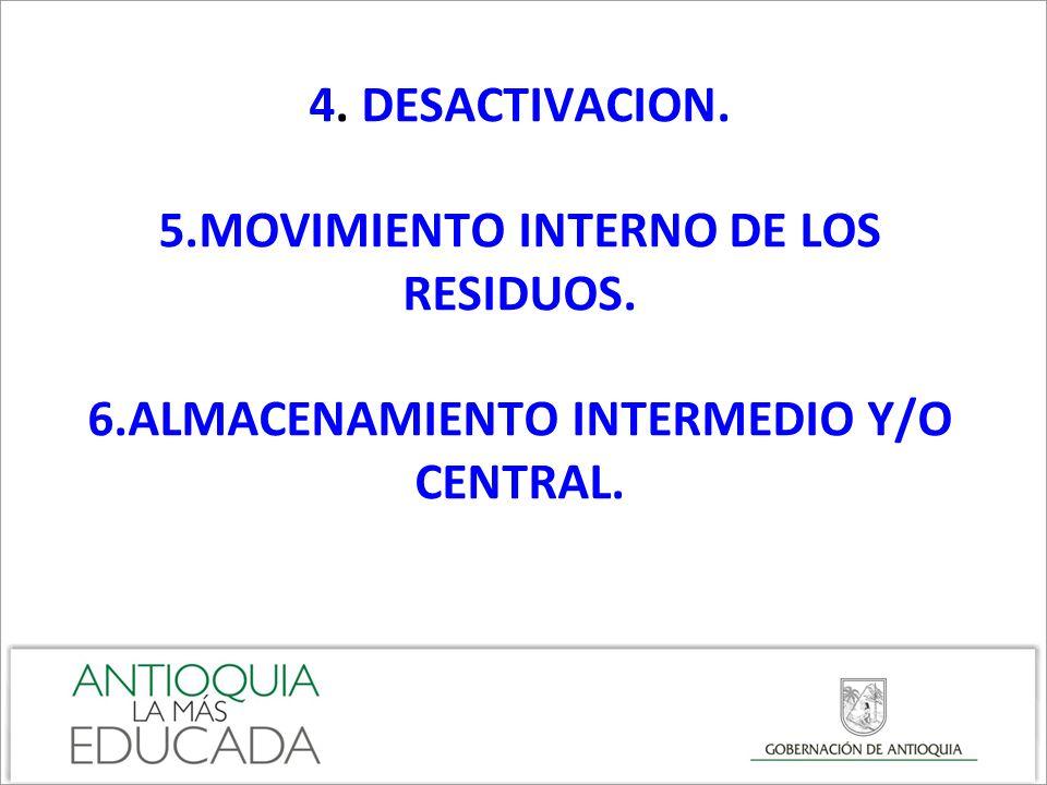 4. DESACTIVACION. 5.MOVIMIENTO INTERNO DE LOS RESIDUOS. 6.ALMACENAMIENTO INTERMEDIO Y/O CENTRAL.