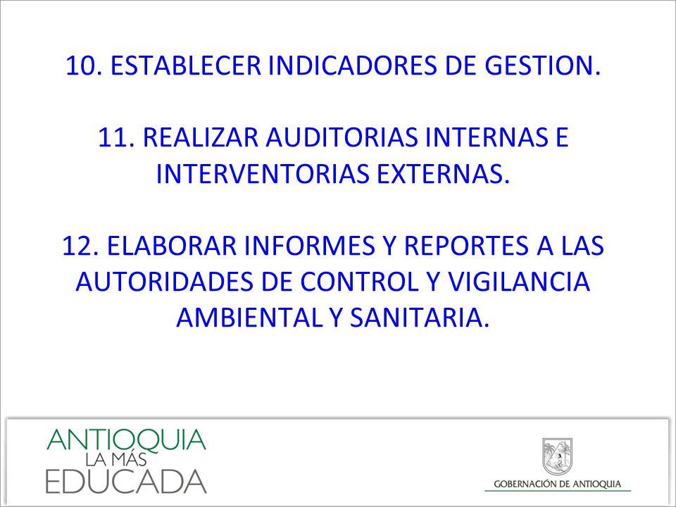 10. ESTABLECER INDICADORES DE GESTION. 11. REALIZAR AUDITORIAS INTERNAS E INTERVENTORIAS EXTERNAS. 12. ELABORAR INFORMES Y REPORTES A LAS AUTORIDADES