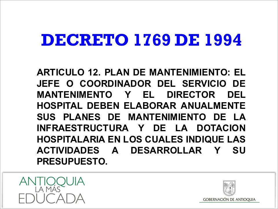 ARTICULO 12. PLAN DE MANTENIMIENTO: EL JEFE O COORDINADOR DEL SERVICIO DE MANTENIMENTO Y EL DIRECTOR DEL HOSPITAL DEBEN ELABORAR ANUALMENTE SUS PLANES