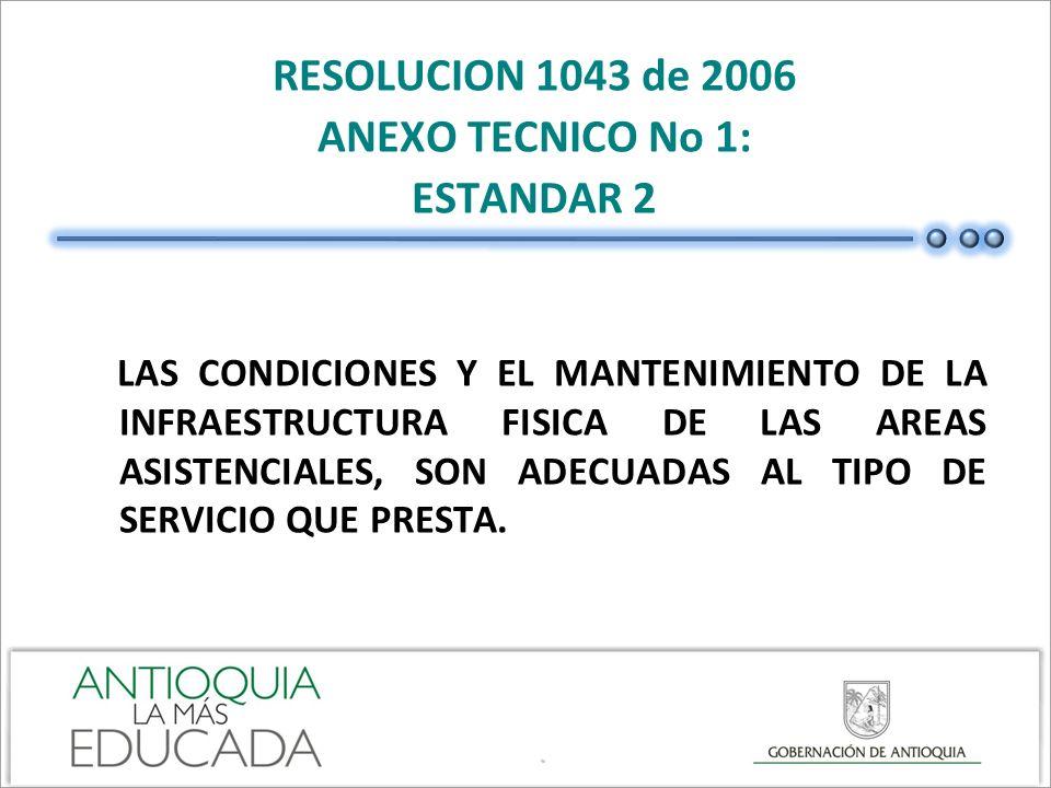 RESOLUCION 1043 de 2006 ANEXO TECNICO No 1: ESTANDAR 2 LAS CONDICIONES Y EL MANTENIMIENTO DE LA INFRAESTRUCTURA FISICA DE LAS AREAS ASISTENCIALES, SON