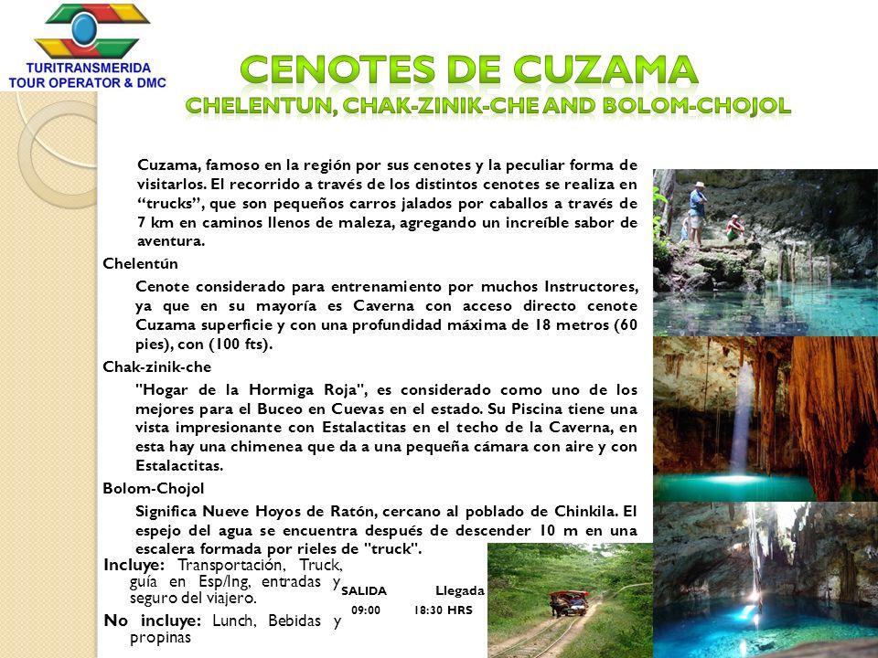 Cuzama, famoso en la región por sus cenotes y la peculiar forma de visitarlos. El recorrido a través de los distintos cenotes se realiza en trucks, qu