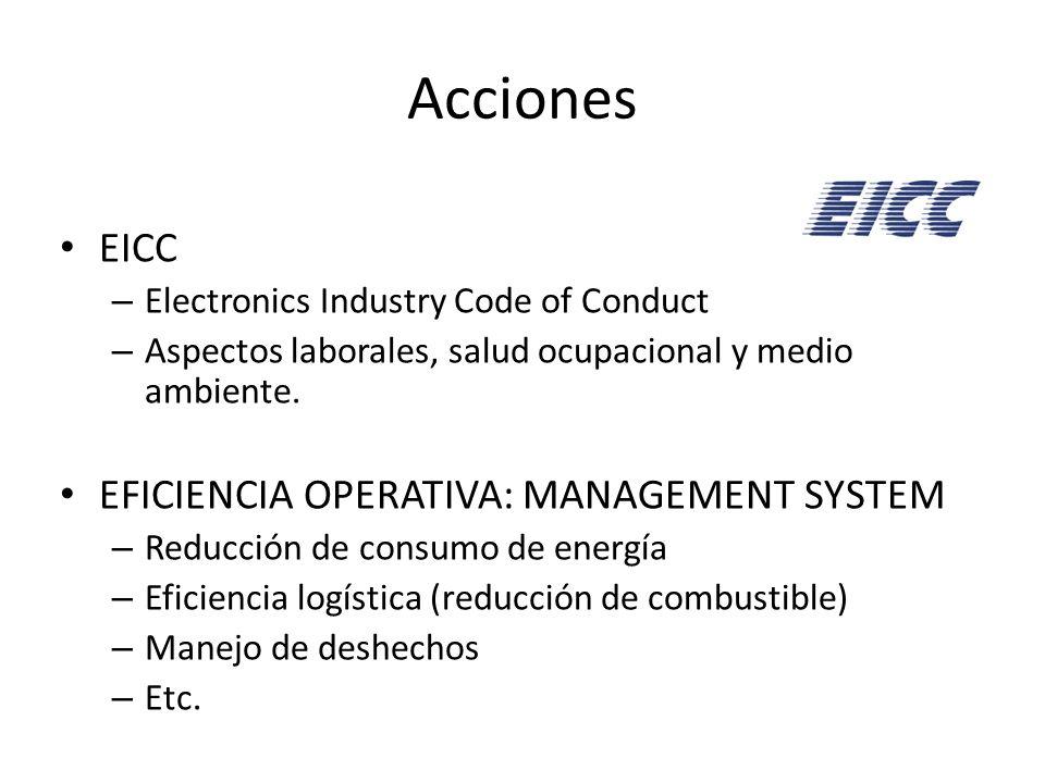 Acciones EICC – Electronics Industry Code of Conduct – Aspectos laborales, salud ocupacional y medio ambiente. EFICIENCIA OPERATIVA: MANAGEMENT SYSTEM
