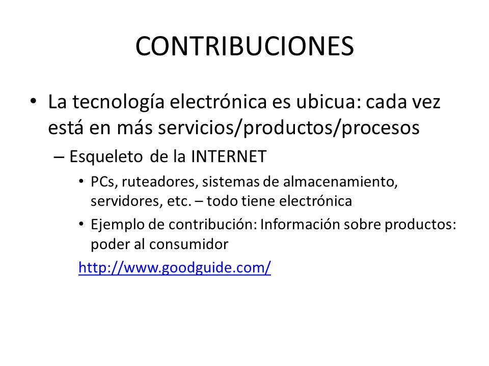CONTRIBUCIONES La tecnología electrónica es ubicua: cada vez está en más servicios/productos/procesos – Esqueleto de la INTERNET PCs, ruteadores, sist