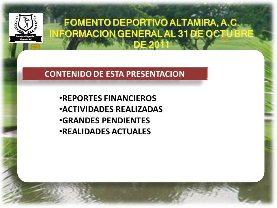 ANTECEDENTES CONTENIDO DE ESTA PRESENTACION REPORTES FINANCIEROS ACTIVIDADES REALIZADAS GRANDES PENDIENTES REALIDADES ACTUALES FOMENTO DEPORTIVO ALTAM