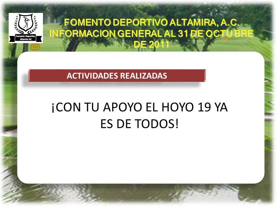 ANTECEDENTES ACTIVIDADES REALIZADAS HASTA HOY HEMOS OPERADO EL CLUB DE MANERA NORMAL Y SIN ADEUDOS REVISAMOS LAS NOMINAS, LOS SUELDOS Y LAS ACTIVIDADES DE CADA PUESTO DE TRABAJO ACEPTAMOS CONVENIOS DE RENTA DE ACCION AL CORRIENTE A 38 JUGADORES LOCALES CON UNA INSCRIPCION DE $ 15 MIL CADA UNO, GENERANDO 570 MIL PESOS DE INGRESO UNICO Y 95 MIL DE RENTA MENSUAL ADICIONAL ACEPTAMOS CONVENIO DE MEMBRESIA CON DOS GRUPOS DE 10 COREANOS CADA UNO GENERANDO 270 MIL PESOS DE INSCRIPCIÓN Y 50 MIL DE RENTA MENSUAL A 2500 PESOS X JUGADOR FOMENTO DEPORTIVO ALTAMIRA, A.C.
