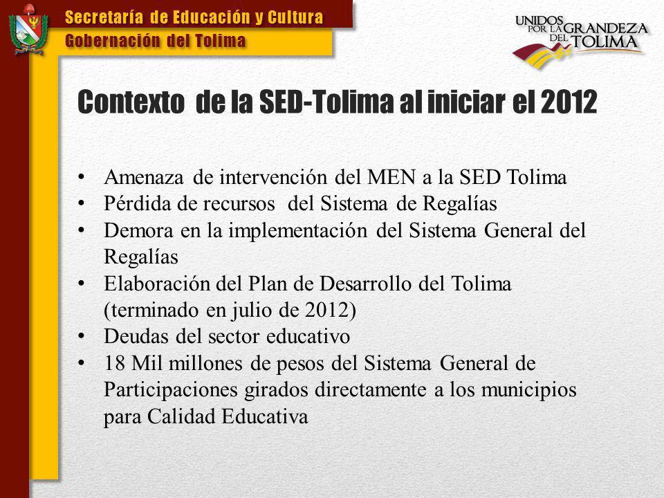 Secretaría de Educación y Cultura Gobernación del Tolima Secretaría de Educación y Cultura Gobernación del Tolima PROCESO DE CONTRATACION 2012 SUBASTA No.