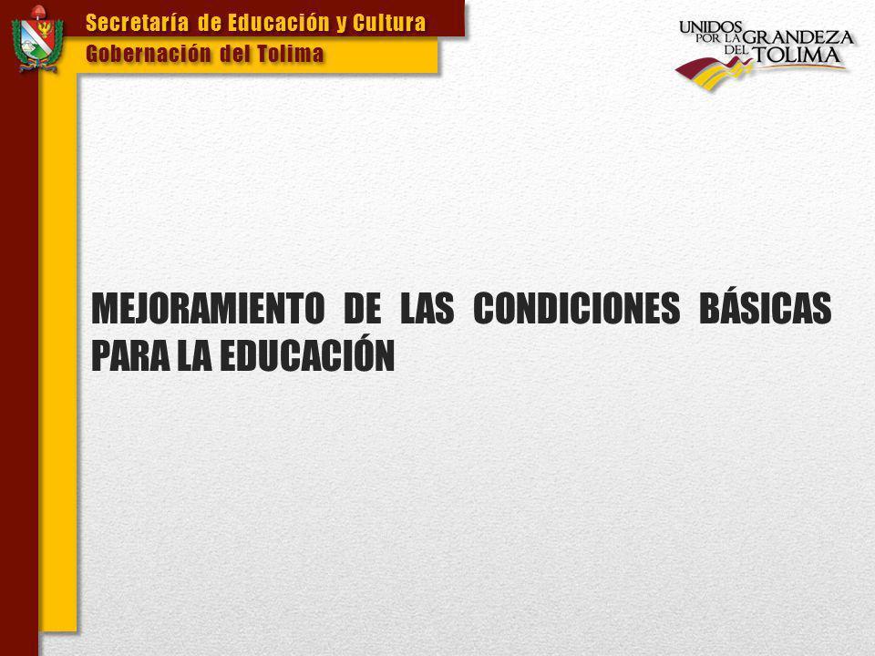 Secretaría de Educación y Cultura Gobernación del Tolima Secretaría de Educación y Cultura Gobernación del Tolima ALIMENTACIÓN ESCOLAR Se realizó convenio con el Instituto Colombiano de Bienestar Familiar ICBF por valor de $562.34 millones para la atención a 2.965 estudiantes de las jornadas complementarias y completas.