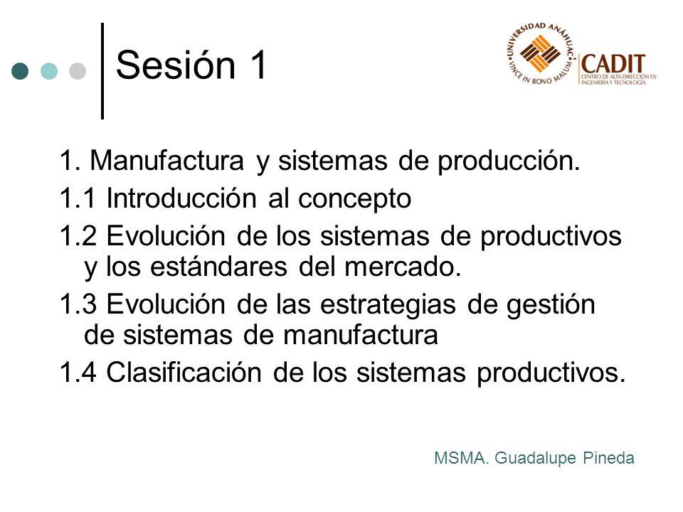 1. Manufactura y sistemas de producción. 1.1 Introducción al concepto 1.2 Evolución de los sistemas de productivos y los estándares del mercado. 1.3 E