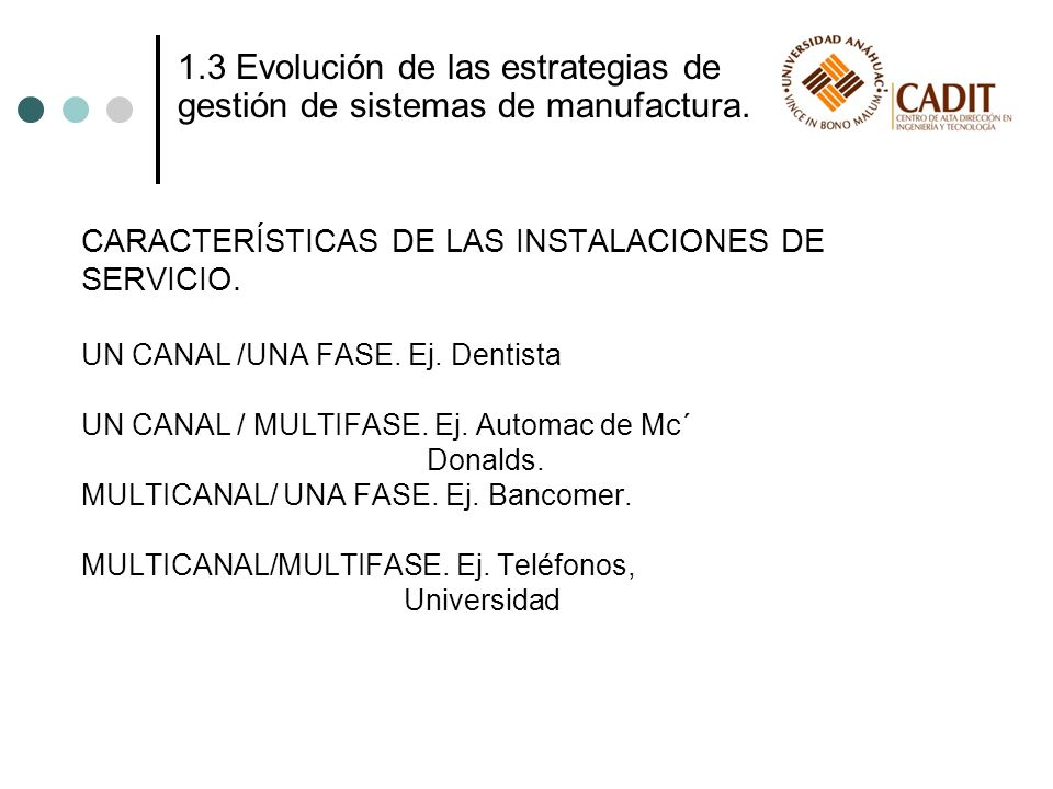 1.3 Evolución de las estrategias de gestión de sistemas de manufactura. CARACTERÍSTICAS DE LAS INSTALACIONES DE SERVICIO. UN CANAL /UNA FASE. Ej. Dent