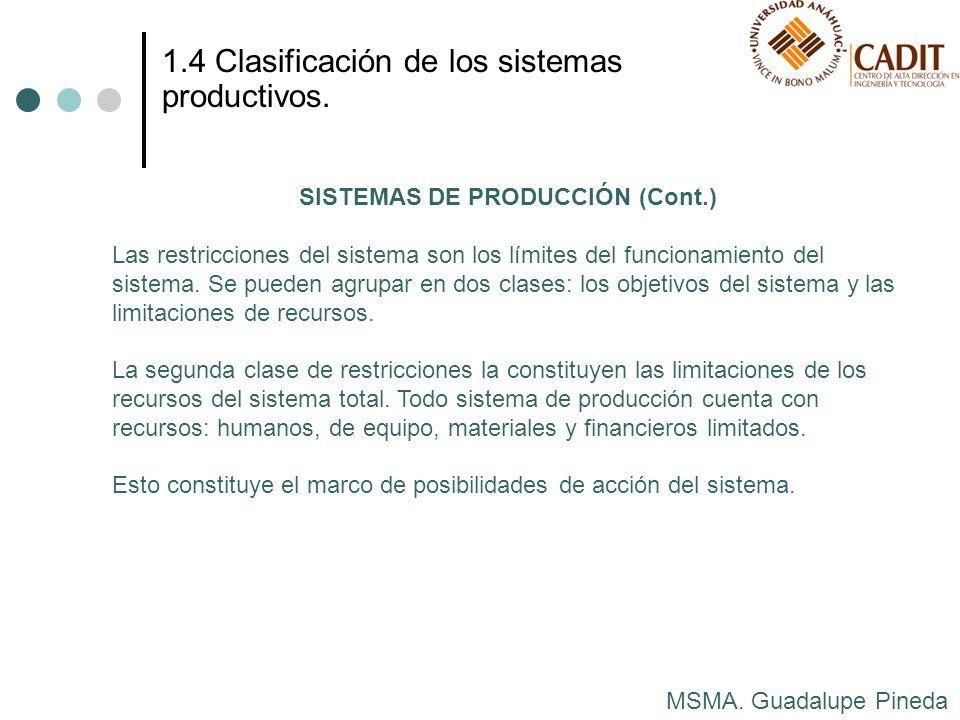 MSMA. Guadalupe Pineda 1.4 Clasificación de los sistemas productivos. SISTEMAS DE PRODUCCIÓN (Cont.) Las restricciones del sistema son los límites del