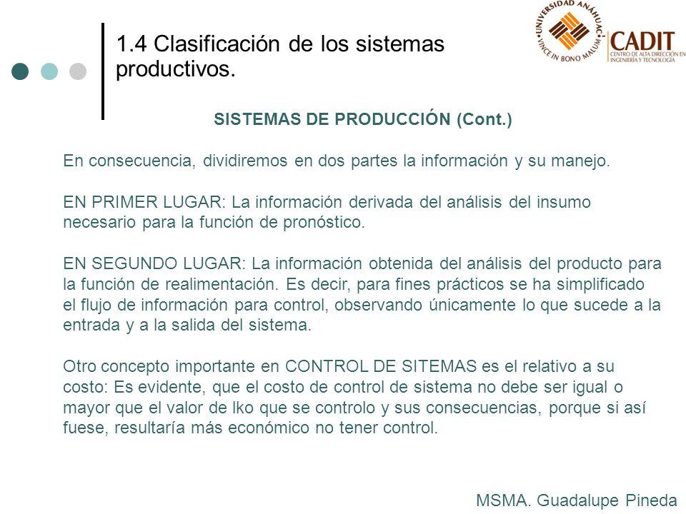 MSMA. Guadalupe Pineda 1.4 Clasificación de los sistemas productivos. SISTEMAS DE PRODUCCIÓN (Cont.) En consecuencia, dividiremos en dos partes la inf
