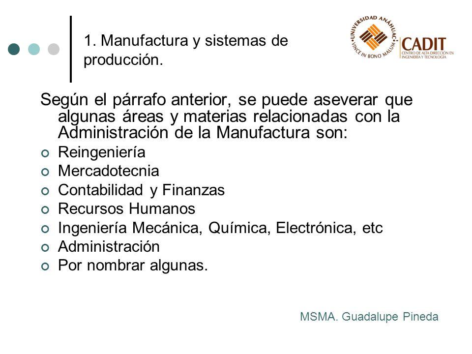 Según el párrafo anterior, se puede aseverar que algunas áreas y materias relacionadas con la Administración de la Manufactura son: Reingeniería Merca