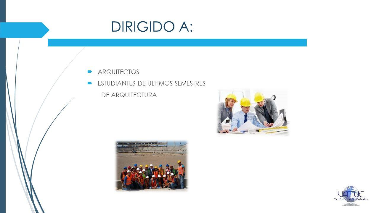 DIRIGIDO A: ARQUITECTOS ESTUDIANTES DE ULTIMOS SEMESTRES DE ARQUITECTURA