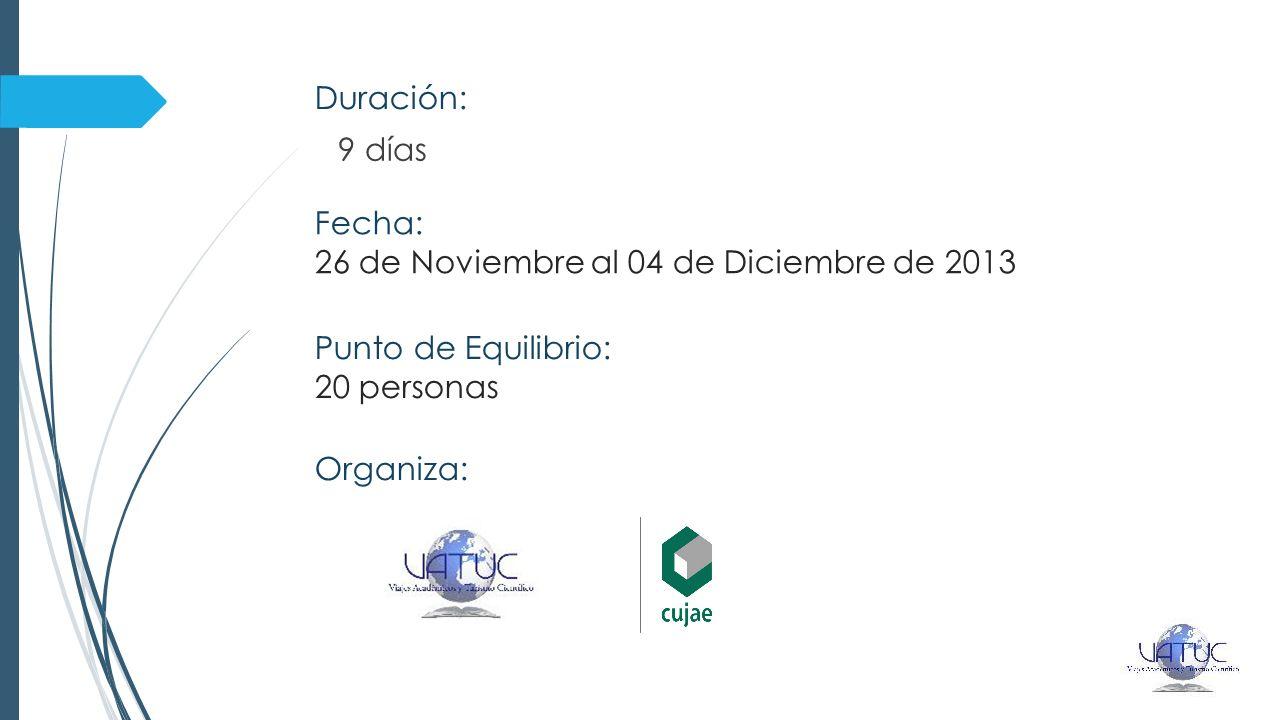 Duración: 9 días Fecha: 26 de Noviembre al 04 de Diciembre de 2013 Punto de Equilibrio: 20 personas Organiza: