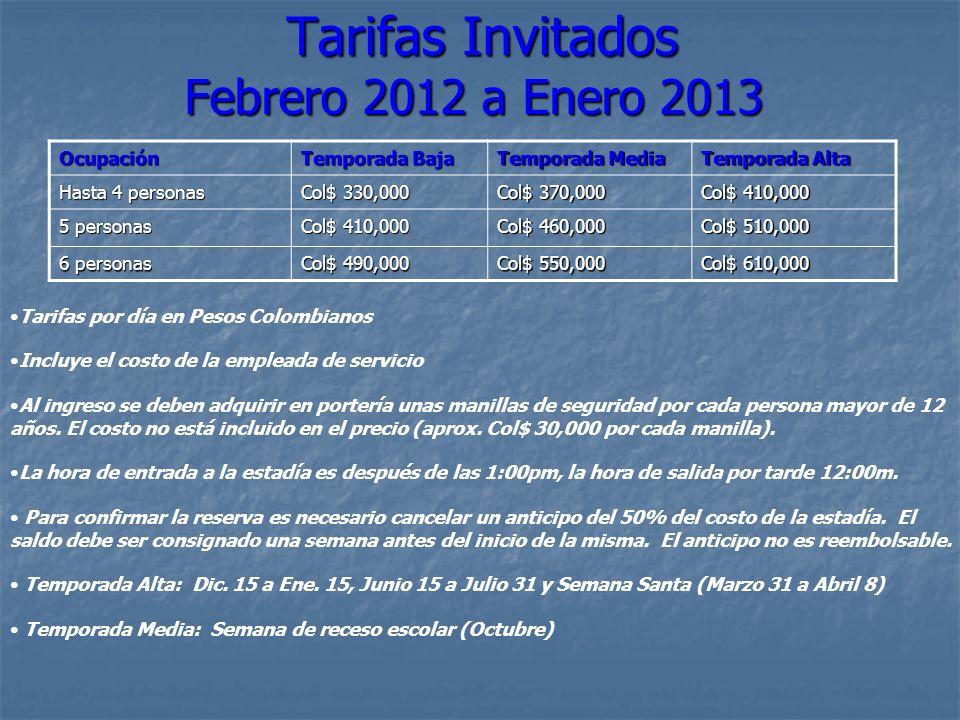 Tarifas Invitados Febrero 2012 a Enero 2013 Tarifas Invitados Febrero 2012 a Enero 2013 Tarifas por día en Pesos Colombianos Incluye el costo de la em