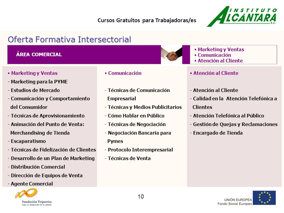 Cursos Gratuitos para Trabajadoras/es 10 Oferta Formativa Intersectorial Marketing y Ventas - Marketing para la PYME - Estudios de Mercado - Comunicac