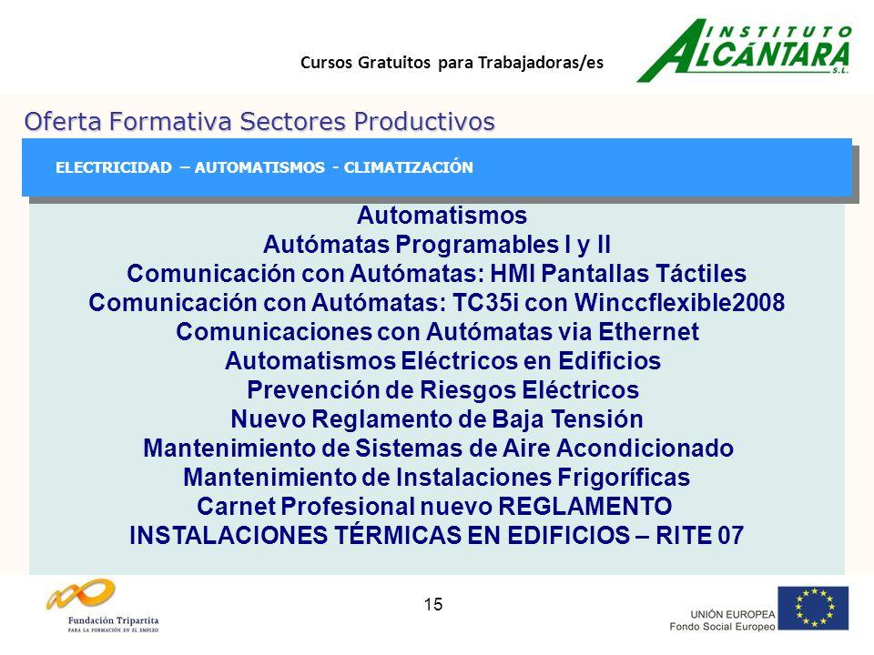 Cursos Gratuitos para Trabajadoras/es 15 Oferta Formativa Sectores Productivos GESTIÓN GESTIÓN ELECTRICIDAD – AUTOMATISMOS - CLIMATIZACIÓN Automatismos Autómatas Programables I y II Comunicación con Autómatas: HMI Pantallas Táctiles Comunicación con Autómatas: TC35i con Winccflexible2008 Comunicaciones con Autómatas via Ethernet Automatismos Eléctricos en Edificios Prevención de Riesgos Eléctricos Nuevo Reglamento de Baja Tensión Mantenimiento de Sistemas de Aire Acondicionado Mantenimiento de Instalaciones Frigoríficas Carnet Profesional nuevo REGLAMENTO INSTALACIONES TÉRMICAS EN EDIFICIOS – RITE 07