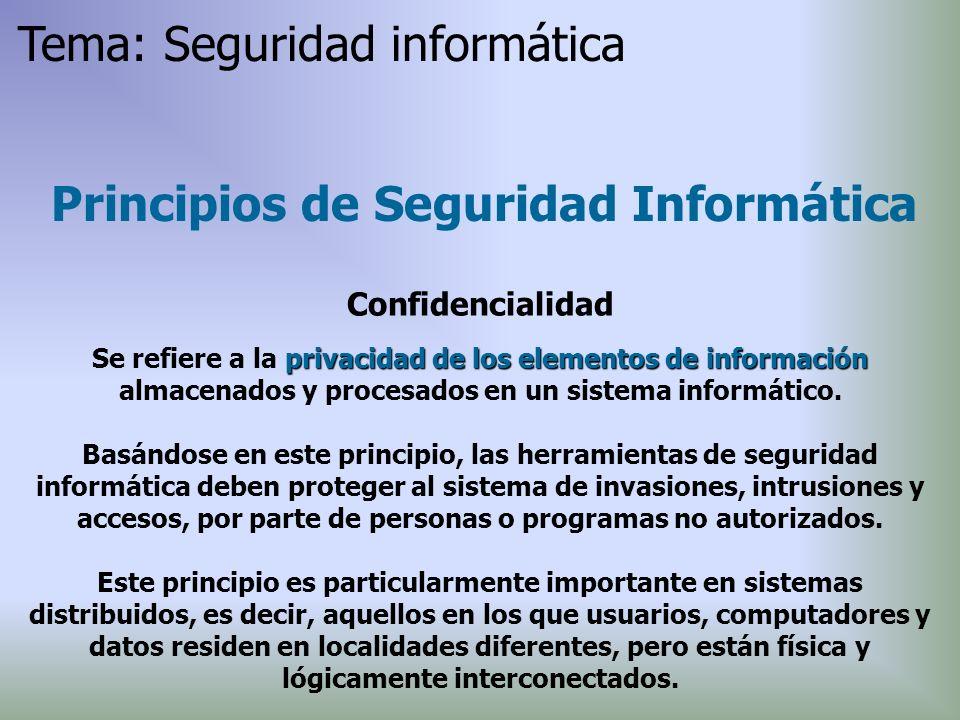 Principios de Seguridad Informática Confidencialidad privacidadde los elementos de información Se refiere a la privacidad de los elementos de informac