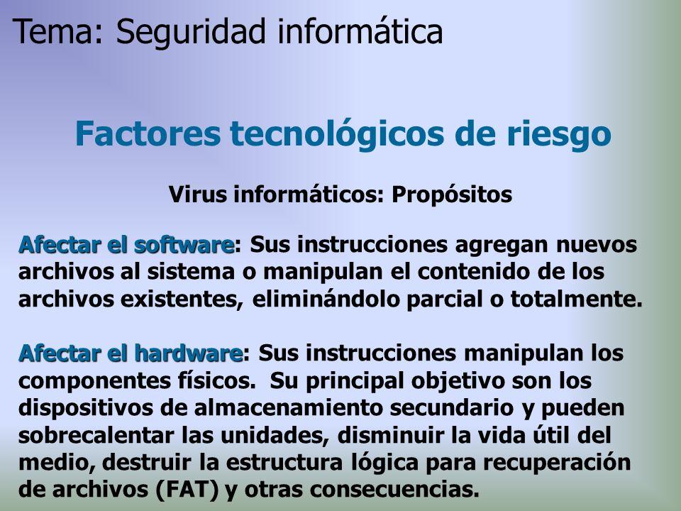 Afectar el software Afectar el software: Sus instrucciones agregan nuevos archivos al sistema o manipulan el contenido de los archivos existentes, eli