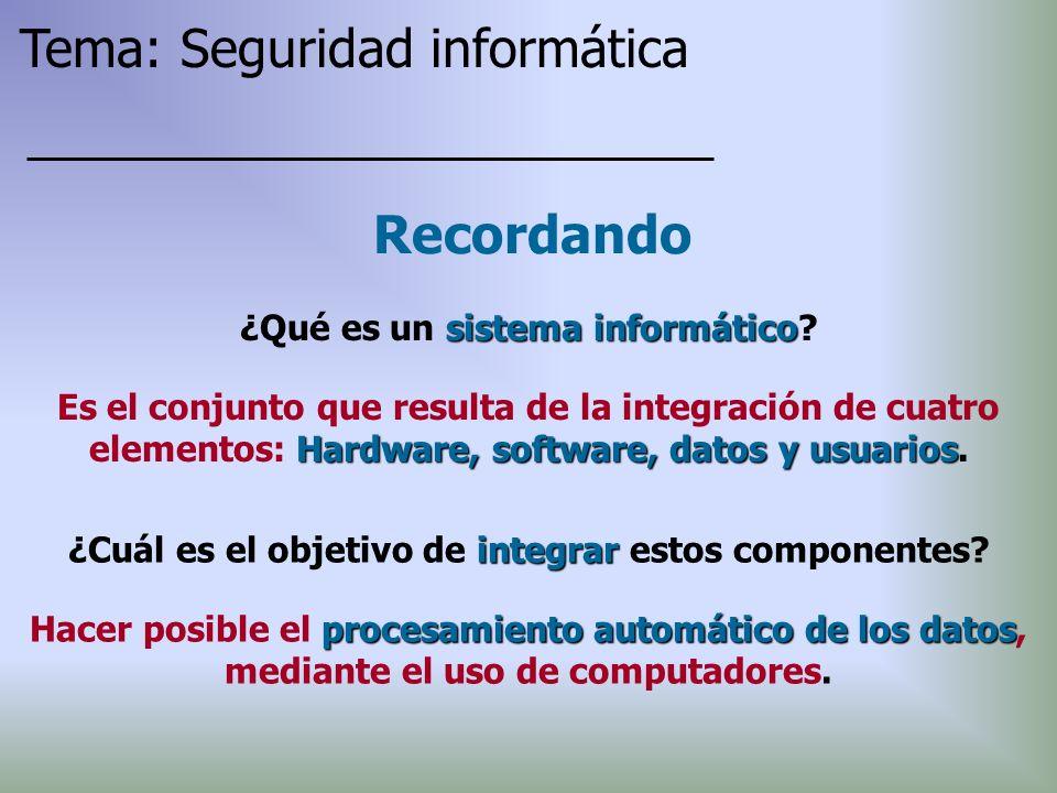 sistema informático ¿Qué es un sistema informático? Recordando Tema: Seguridad informática Hardware, software, datos y usuarios Es el conjunto que res