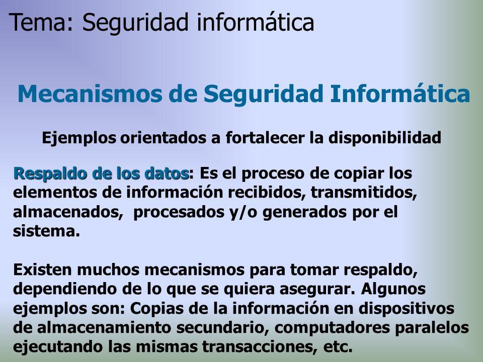 Respaldo de los datos Respaldo de los datos: Es el proceso de copiar los elementos de información recibidos, transmitidos, almacenados, procesados y/o